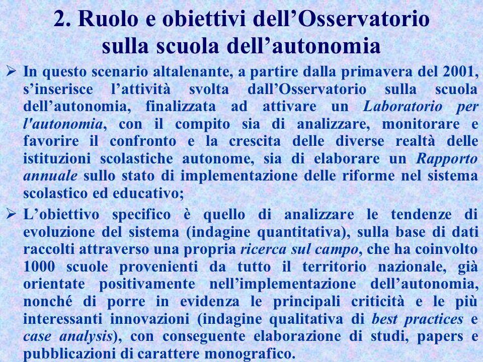 2. Ruolo e obiettivi dell'Osservatorio sulla scuola dell'autonomia