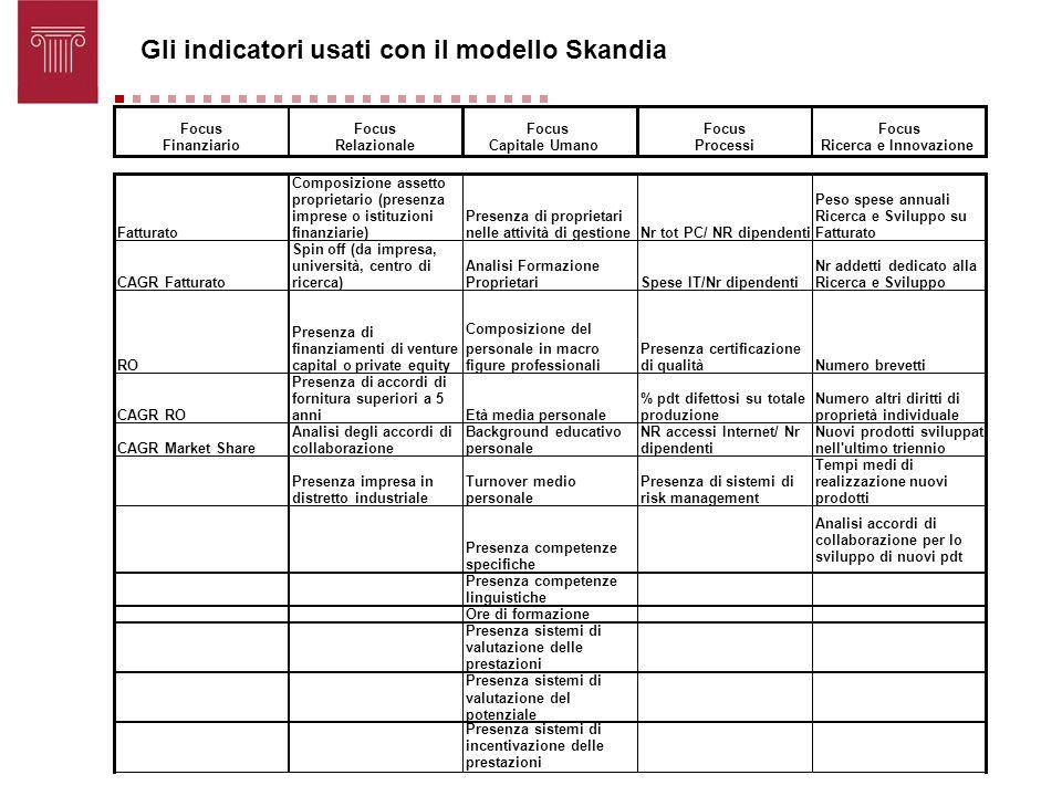 Gli indicatori usati con il modello Skandia