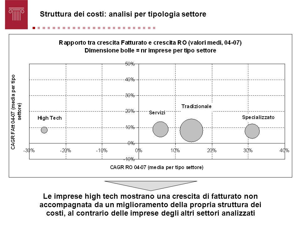 Struttura dei costi: analisi per tipologia settore