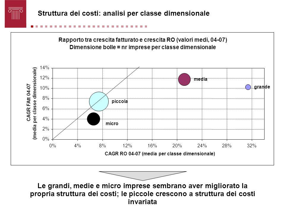 Struttura dei costi: analisi per classe dimensionale