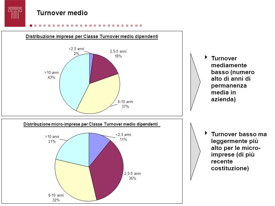 Turnover medio Distribuzione imprese per Classe Turnover medio dipendenti. <2,5 anni. 2,5-5 anni.