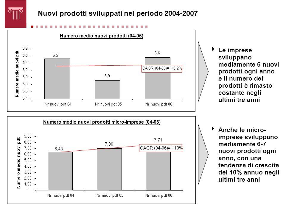 Nuovi prodotti sviluppati nel periodo 2004-2007