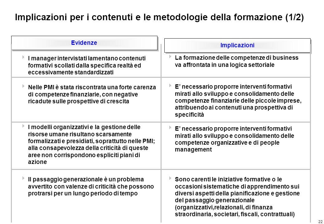 Implicazioni per i contenuti e le metodologie della formazione (2/2)