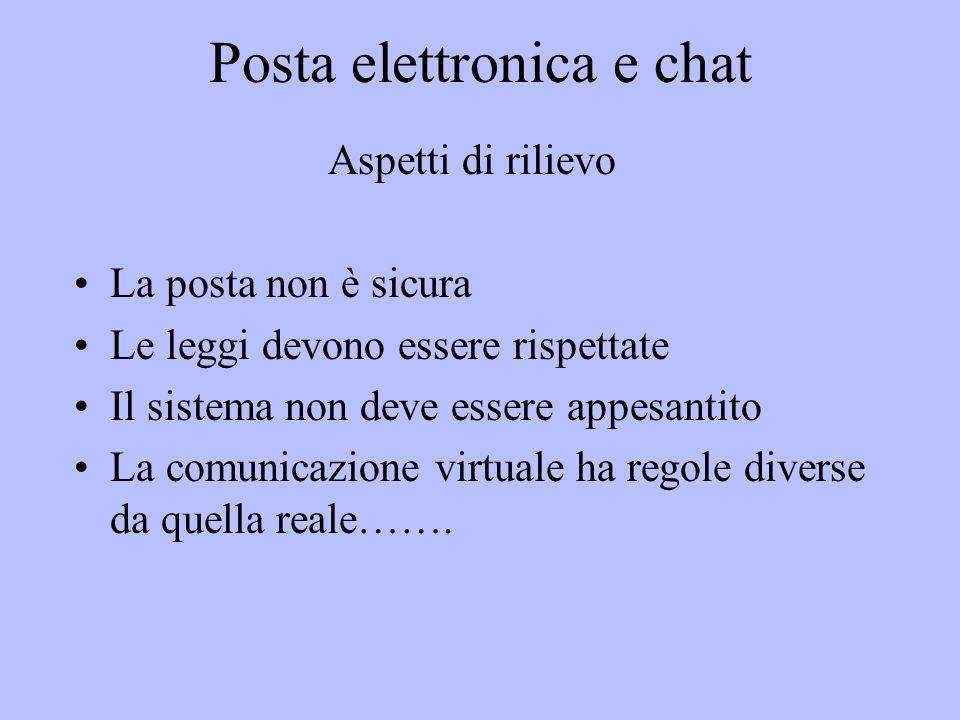 Posta elettronica e chat