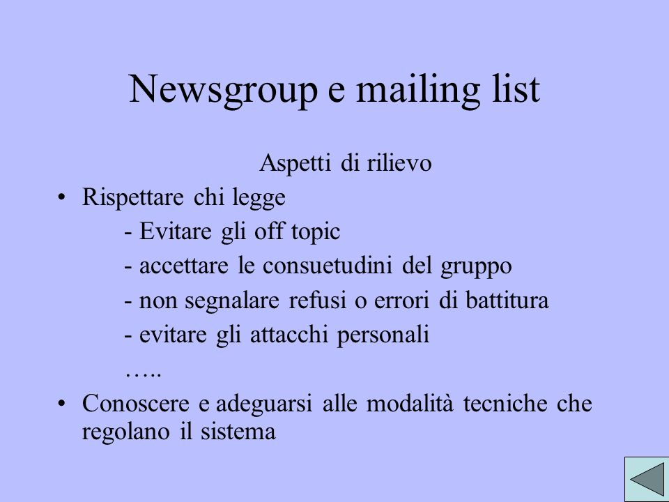 Newsgroup e mailing list