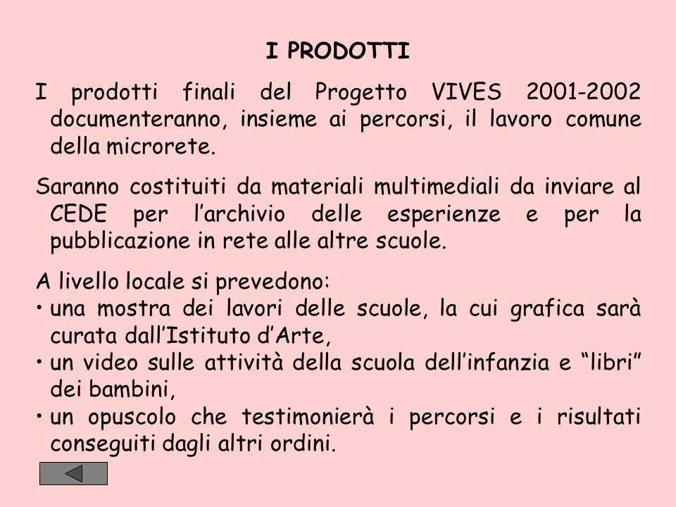 I PRODOTTI I prodotti finali del Progetto VIVES 2001-2002 documenteranno, insieme ai percorsi, il lavoro comune della microrete.