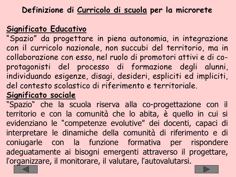 Definizione di Curricolo di scuola per la microrete