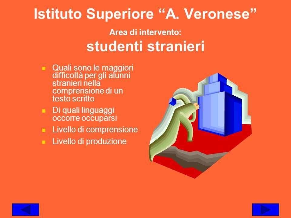Istituto Superiore A. Veronese Area di intervento: studenti stranieri