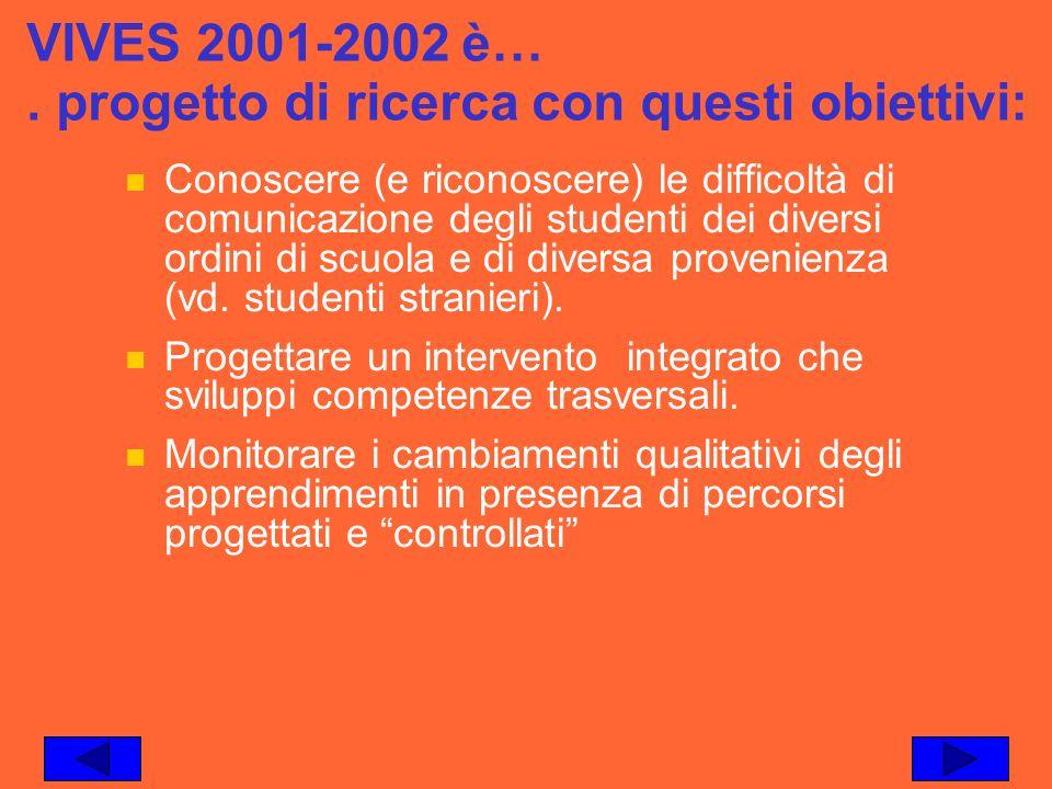 VIVES 2001-2002 è… . progetto di ricerca con questi obiettivi: