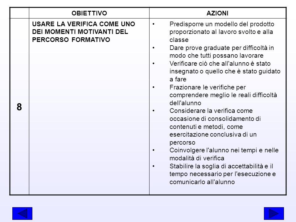 OBIETTIVO AZIONI. 8. USARE LA VERIFICA COME UNO DEI MOMENTI MOTIVANTI DEL PERCORSO FORMATIVO.