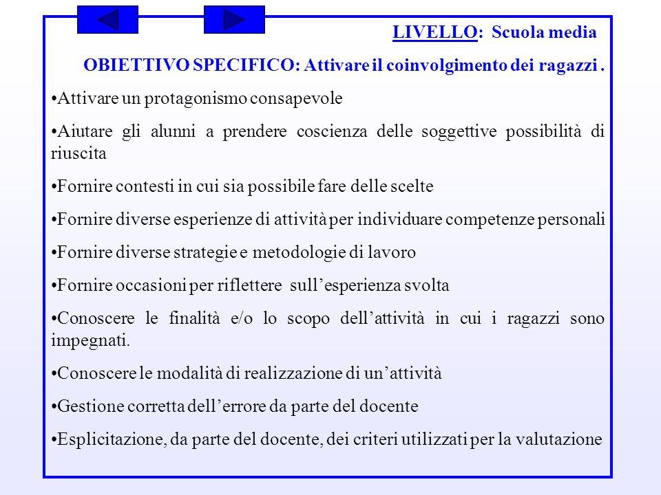 LIVELLO: Scuola media OBIETTIVO SPECIFICO: Attivare il coinvolgimento dei ragazzi . Attivare un protagonismo consapevole.