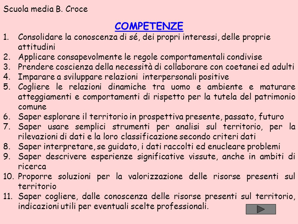 COMPETENZE Scuola media B. Croce