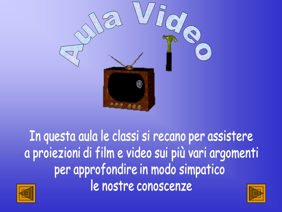 Aula Video In questa aula le classi si recano per assistere