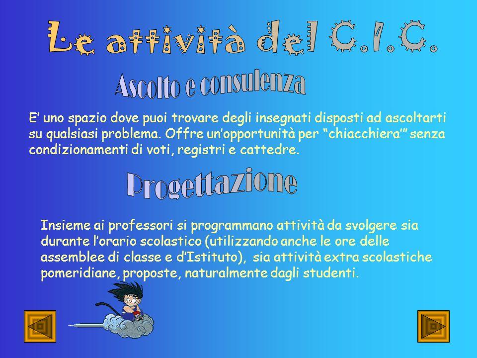 Le attività del C.I.C. Ascolto e consulenza Progettazione