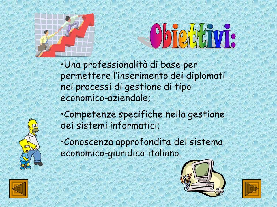 Obiettivi: Una professionalità di base per permettere l'inserimento dei diplomati nei processi di gestione di tipo economico-aziendale;