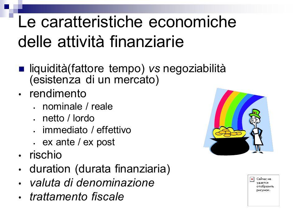 Le caratteristiche economiche delle attività finanziarie