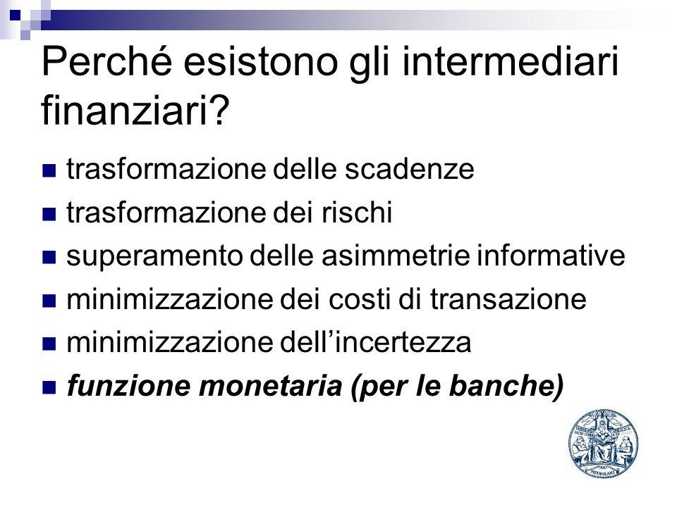 Perché esistono gli intermediari finanziari