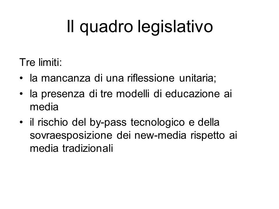 Il quadro legislativo Tre limiti: