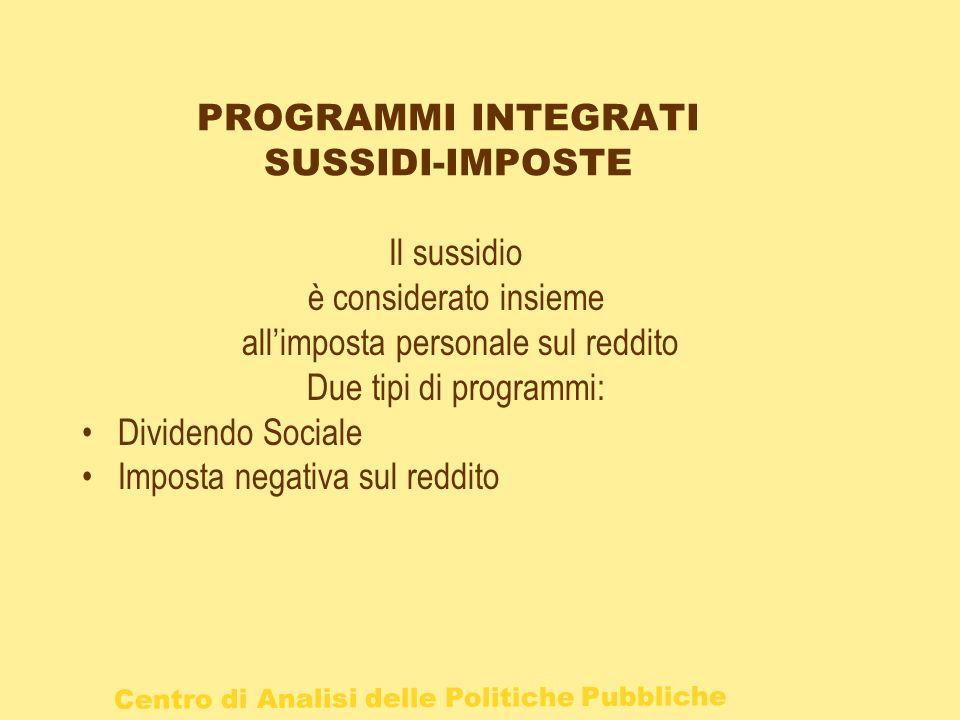 PROGRAMMI INTEGRATI SUSSIDI-IMPOSTE
