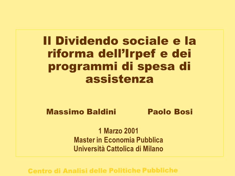 Master in Economia Pubblica Università Cattolica di Milano