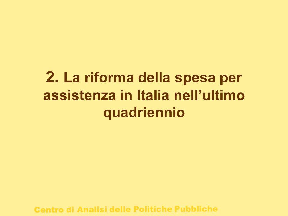 2. La riforma della spesa per assistenza in Italia nell'ultimo quadriennio