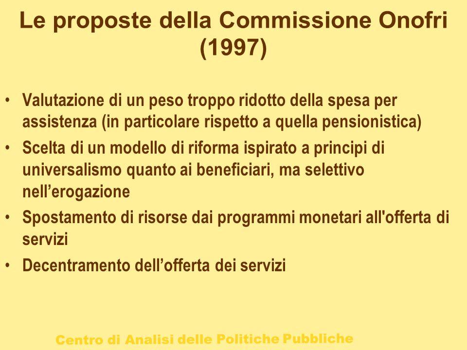 Le proposte della Commissione Onofri (1997)