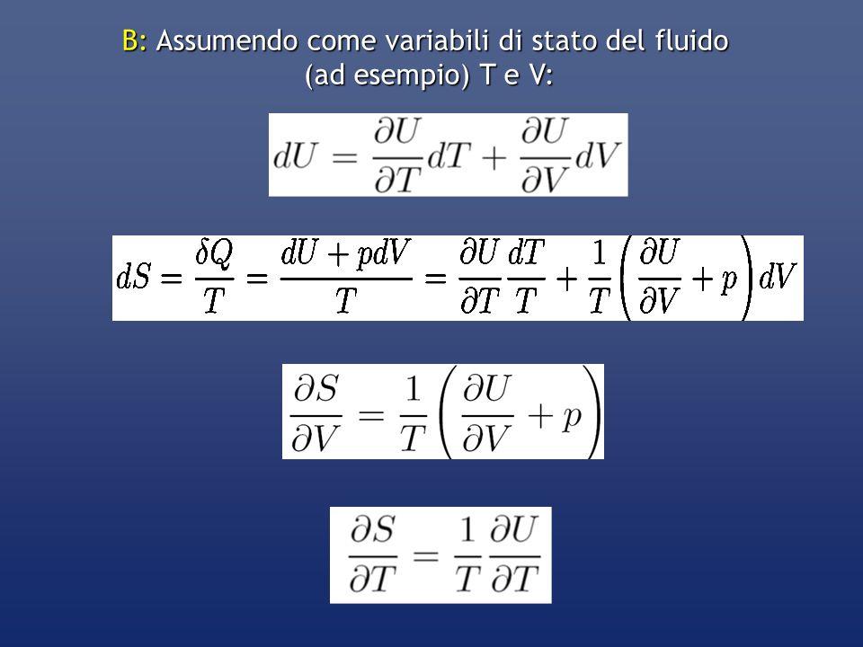 B: Assumendo come variabili di stato del fluido