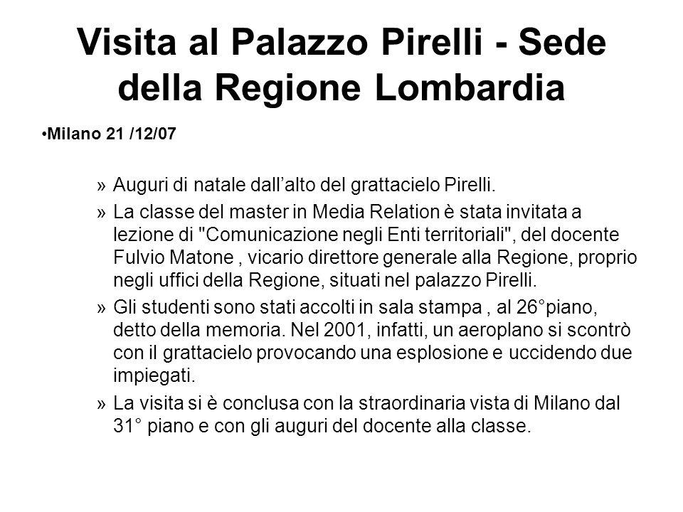 Visita al Palazzo Pirelli - Sede della Regione Lombardia