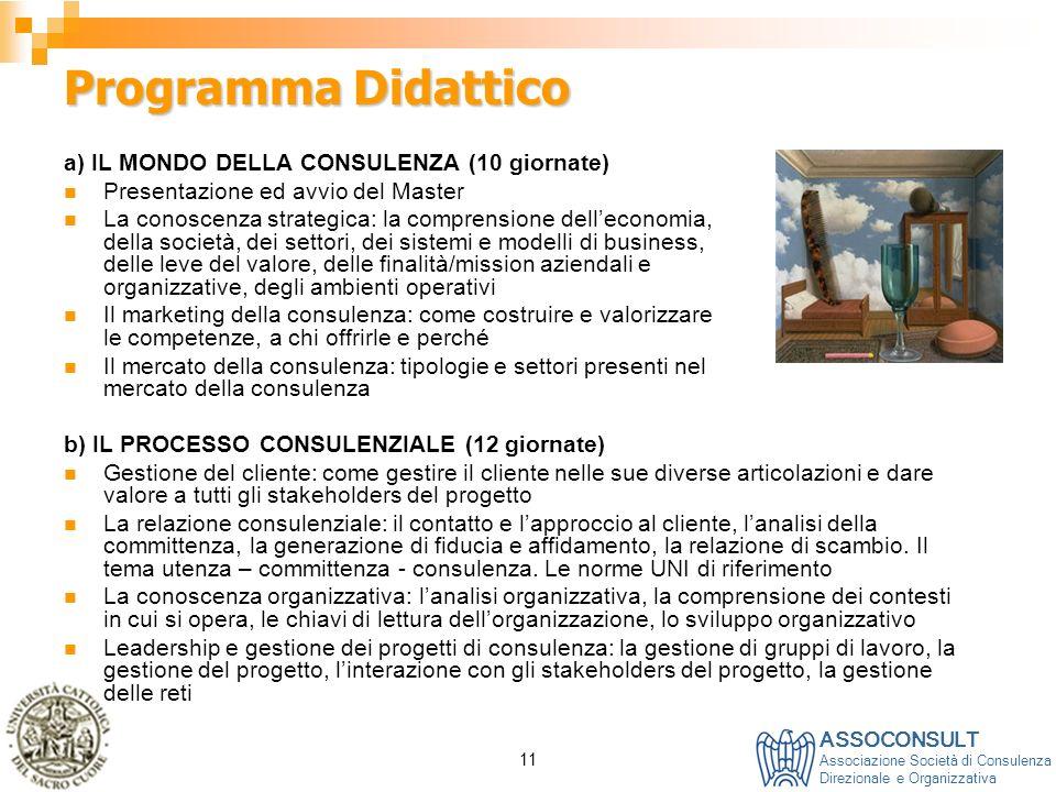 Programma Didattico a) IL MONDO DELLA CONSULENZA (10 giornate)