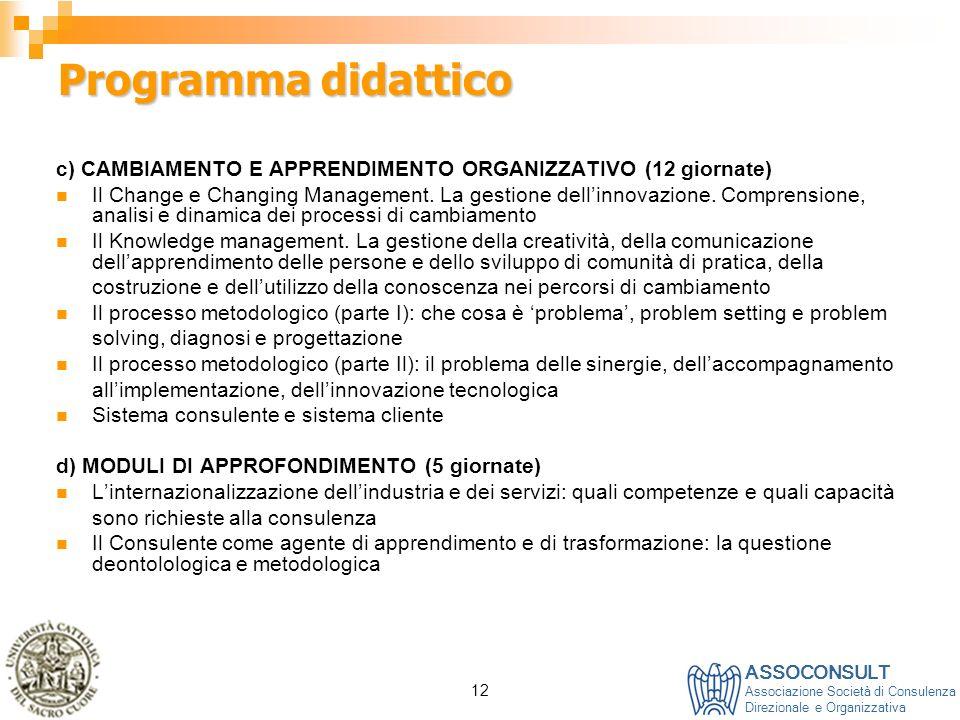 Programma didattico c) CAMBIAMENTO E APPRENDIMENTO ORGANIZZATIVO (12 giornate)