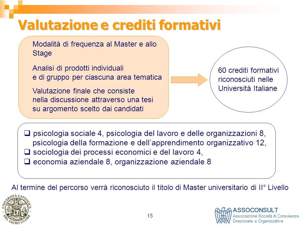 Valutazione e crediti formativi