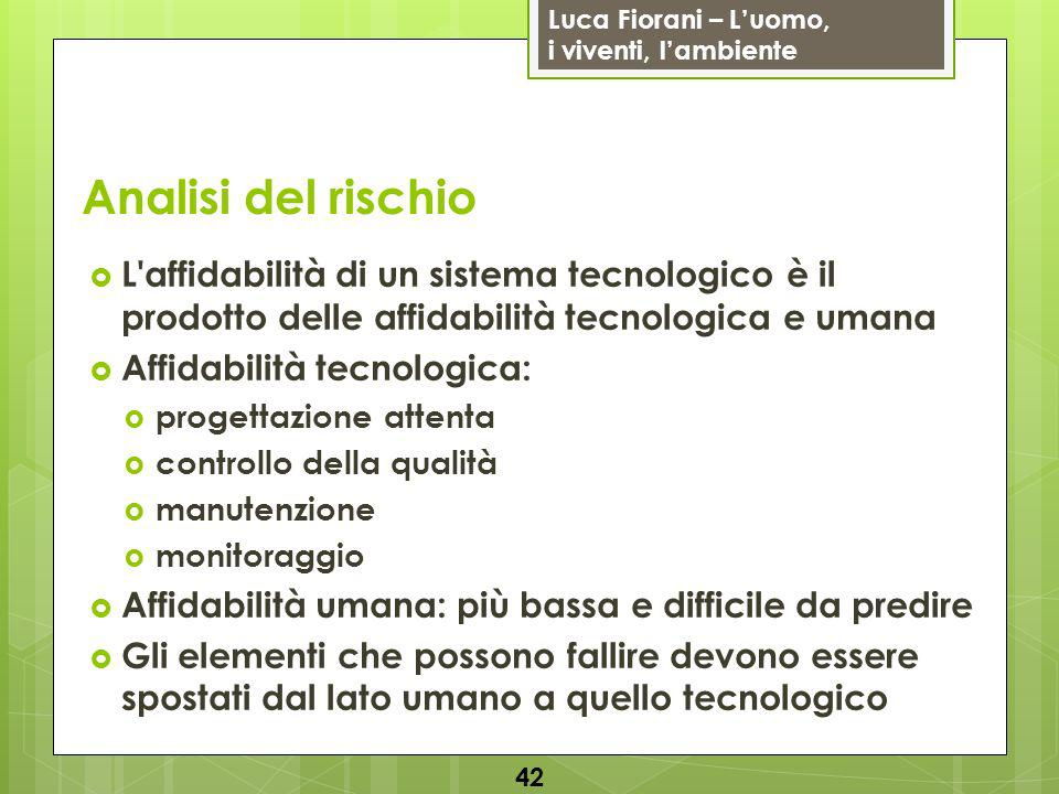 Analisi del rischio L affidabilità di un sistema tecnologico è il prodotto delle affidabilità tecnologica e umana.