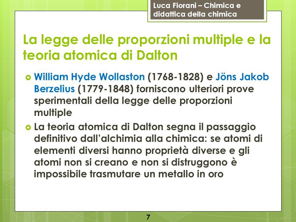 La legge delle proporzioni multiple e la teoria atomica di Dalton