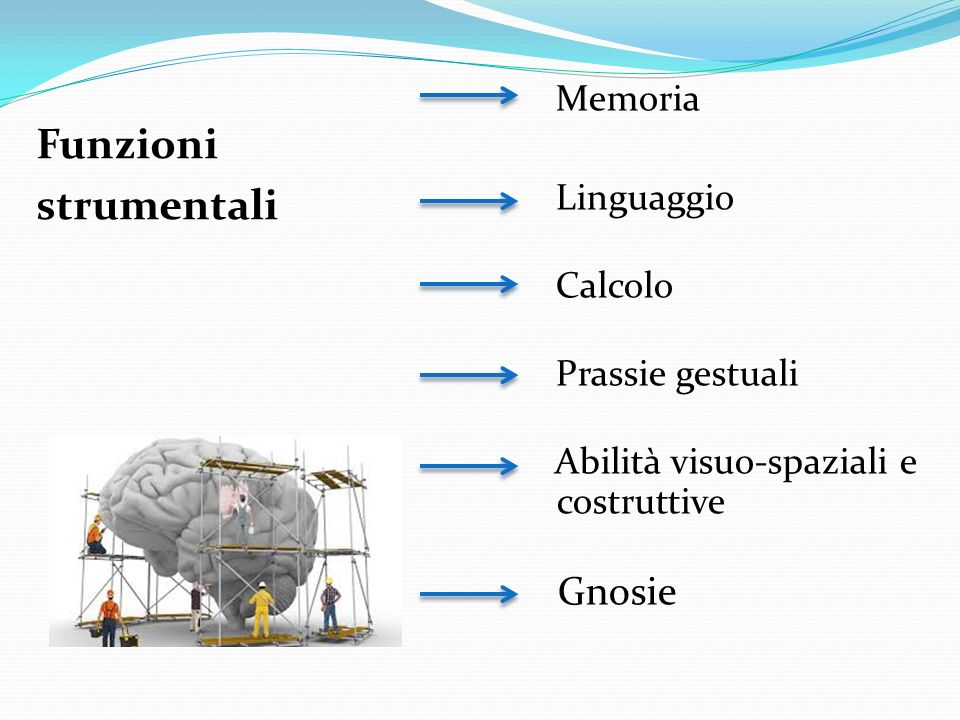 Funzioni strumentali Gnosie Memoria Linguaggio Calcolo