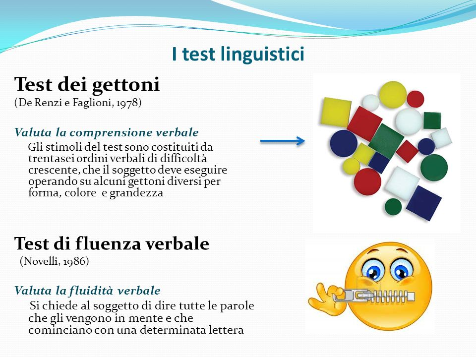 I test linguistici Test dei gettoni Test di fluenza verbale