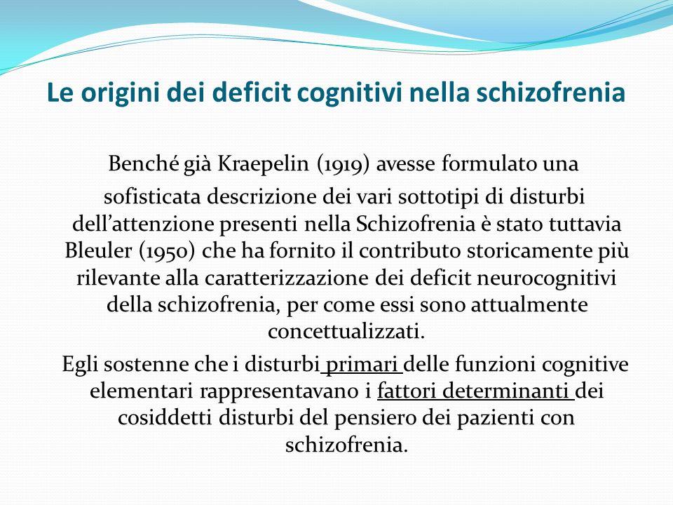Le origini dei deficit cognitivi nella schizofrenia