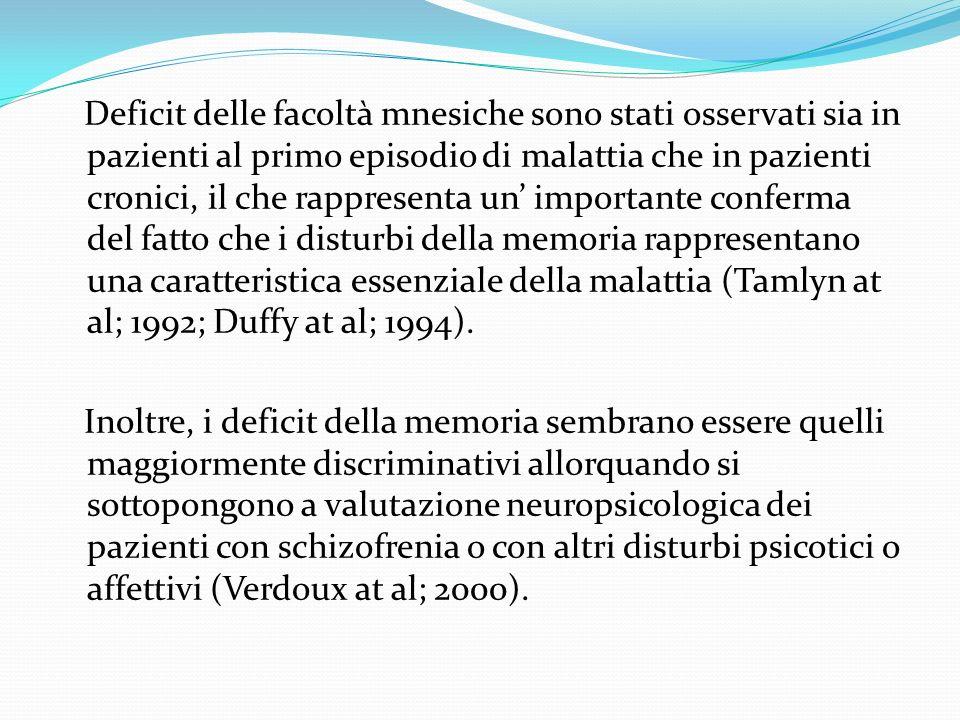 Deficit delle facoltà mnesiche sono stati osservati sia in pazienti al primo episodio di malattia che in pazienti cronici, il che rappresenta un' importante conferma del fatto che i disturbi della memoria rappresentano una caratteristica essenziale della malattia (Tamlyn at al; 1992; Duffy at al; 1994).