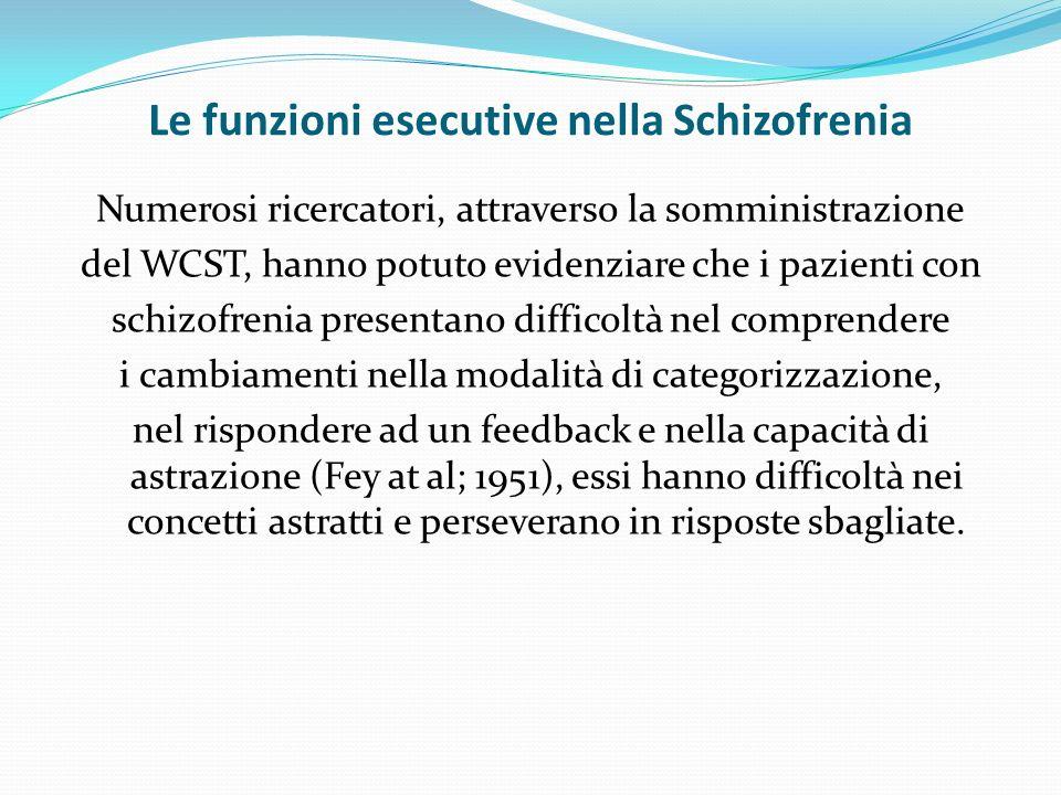 Le funzioni esecutive nella Schizofrenia