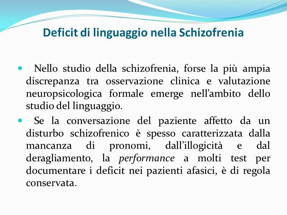 Deficit di linguaggio nella Schizofrenia