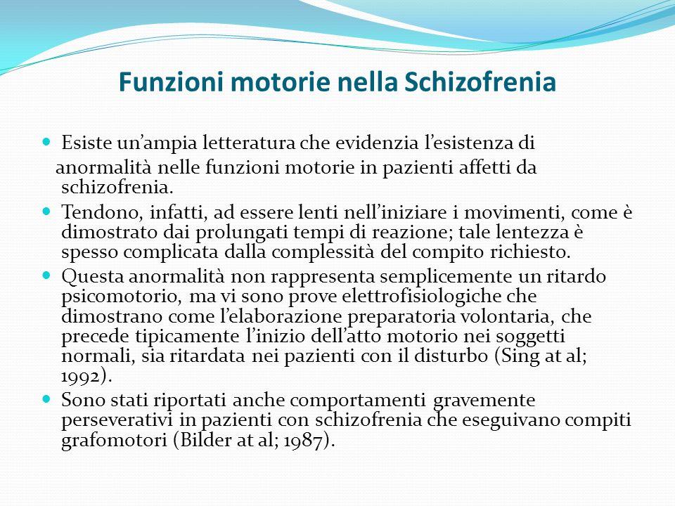 Funzioni motorie nella Schizofrenia
