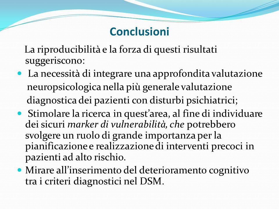 Conclusioni La riproducibilità e la forza di questi risultati suggeriscono: La necessità di integrare una approfondita valutazione.
