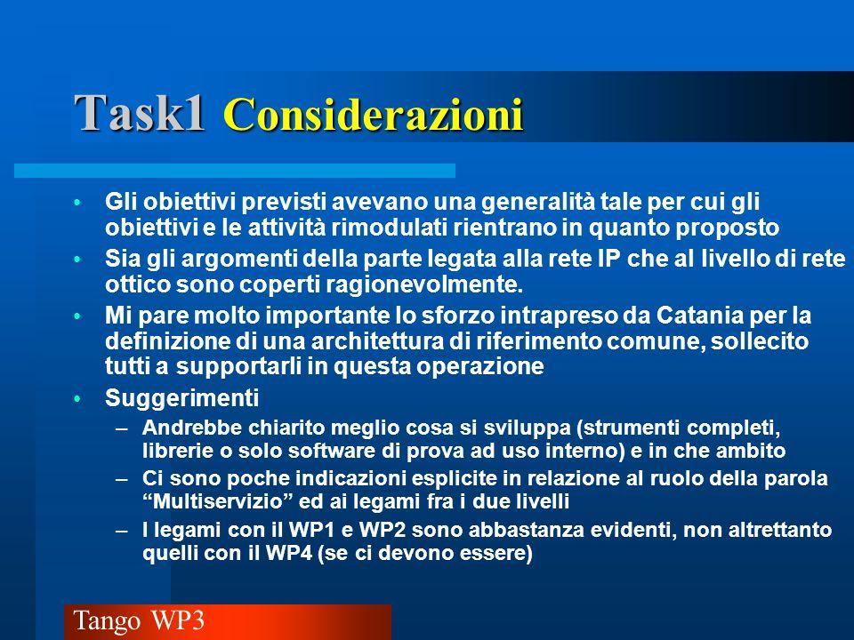 Task1 Considerazioni Gli obiettivi previsti avevano una generalità tale per cui gli obiettivi e le attività rimodulati rientrano in quanto proposto.