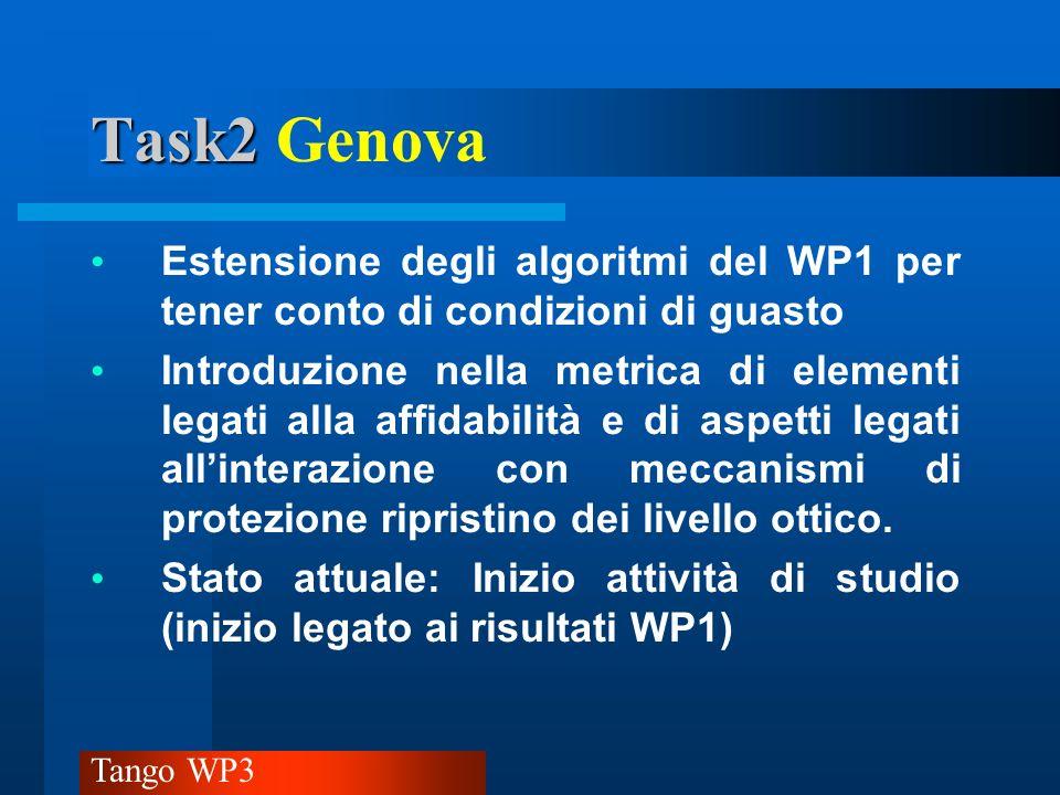 Task2 Genova Estensione degli algoritmi del WP1 per tener conto di condizioni di guasto.