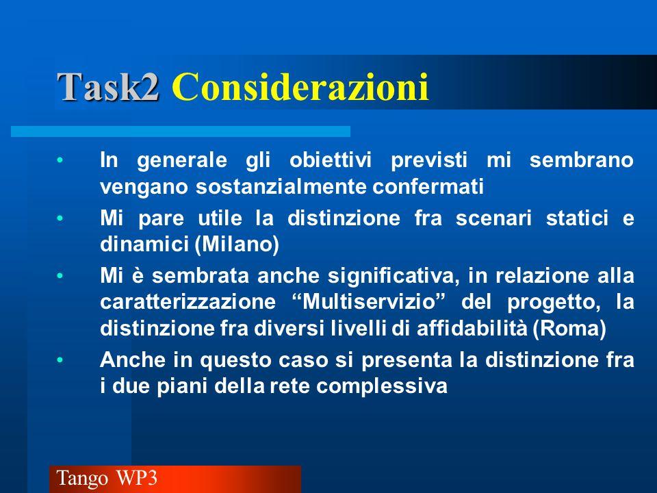 Task2 Considerazioni In generale gli obiettivi previsti mi sembrano vengano sostanzialmente confermati.