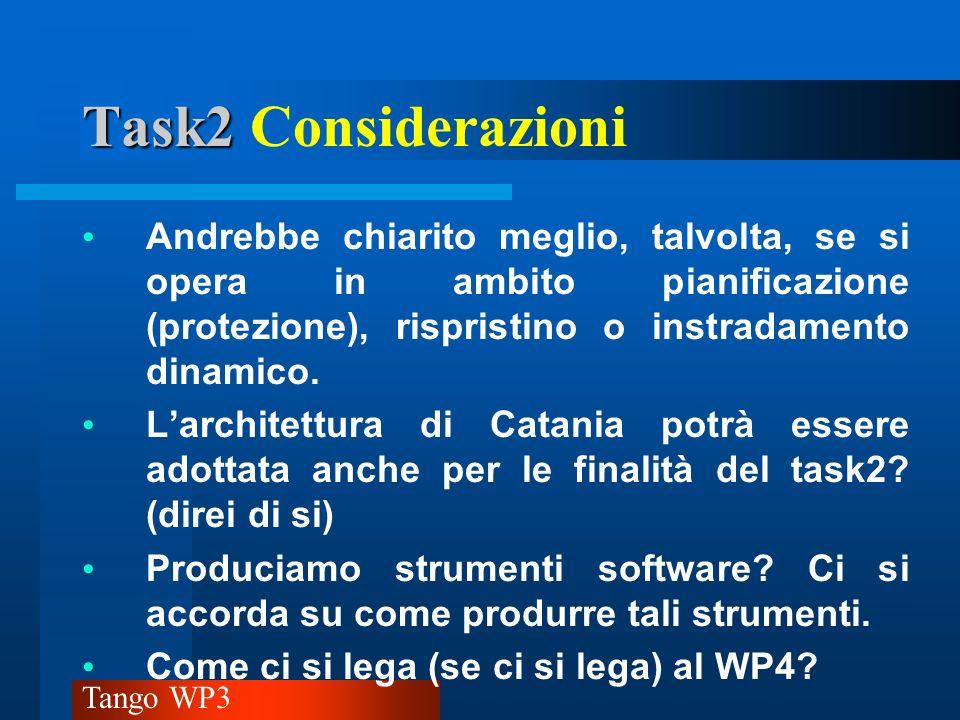 Task2 Considerazioni Andrebbe chiarito meglio, talvolta, se si opera in ambito pianificazione (protezione), rispristino o instradamento dinamico.