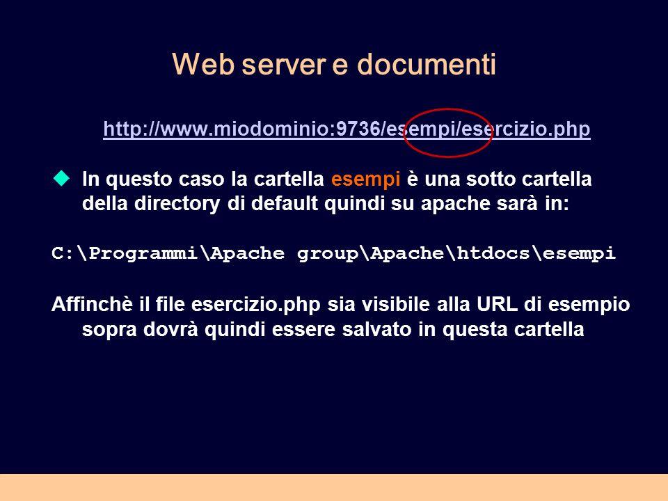 Web server e documenti http://www.miodominio:9736/esempi/esercizio.php