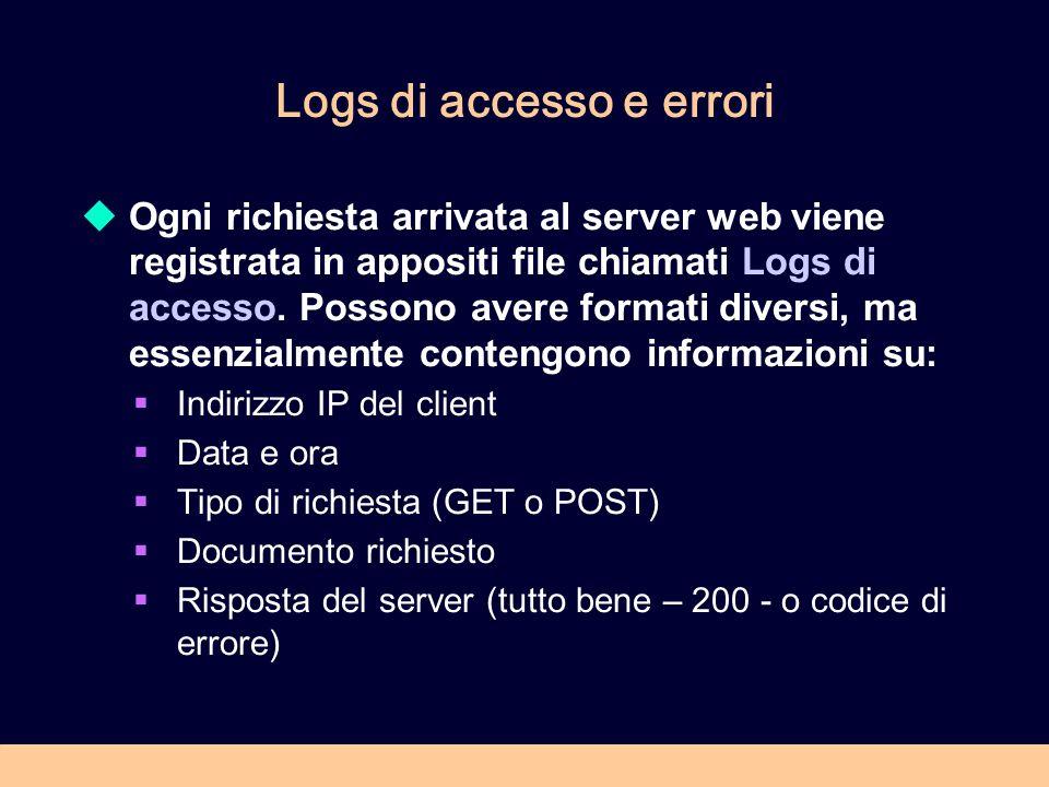 Logs di accesso e errori