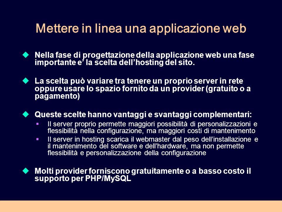 Mettere in linea una applicazione web