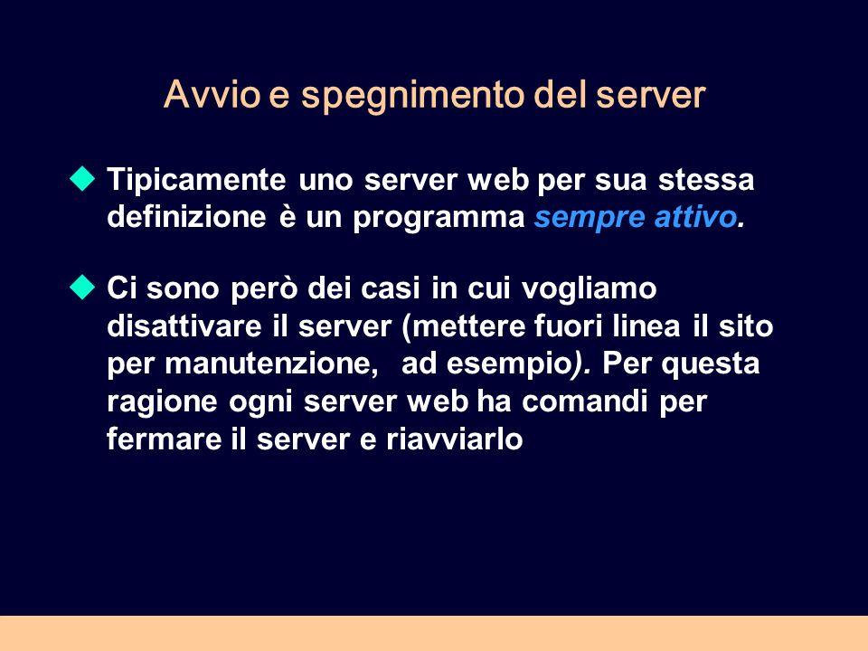 Avvio e spegnimento del server