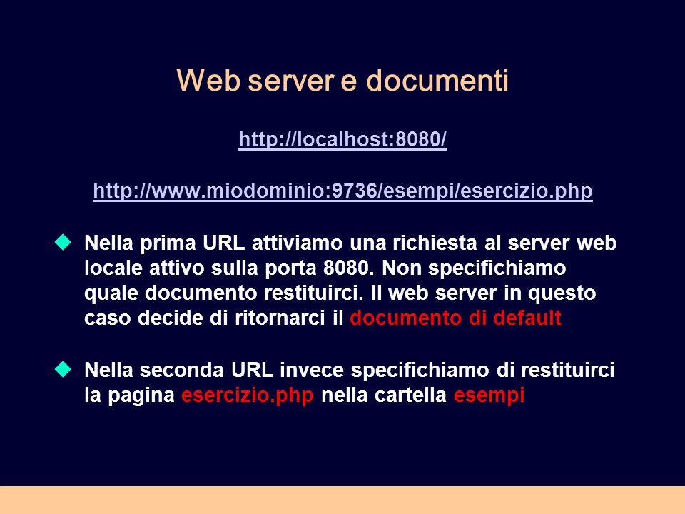 Web server e documenti http://localhost:8080/